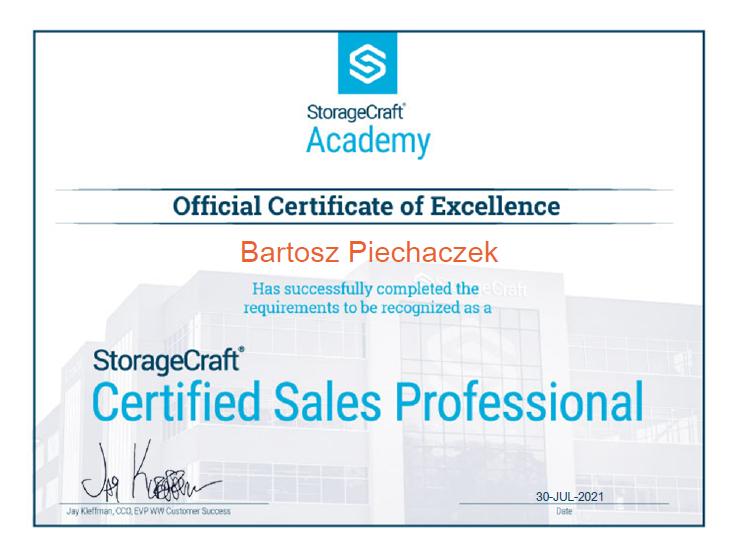 Certyfikat inżyniera ANZENA -  StorageCraft backup
